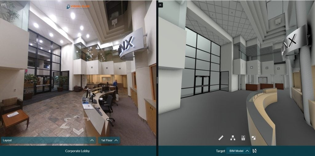 Screenshot of 360 photo comparison with Visual Plan for security design