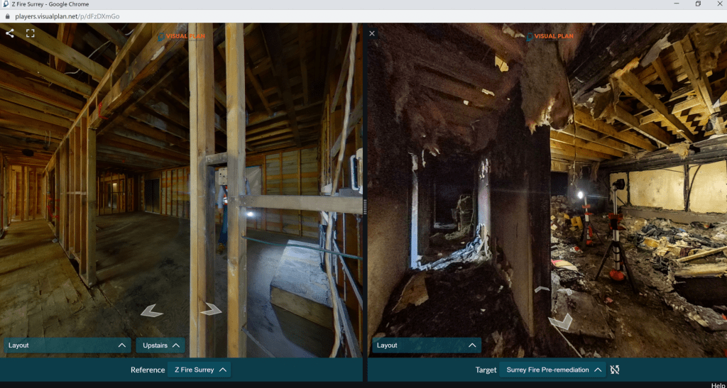 360 photo of building damage for insurance documentation