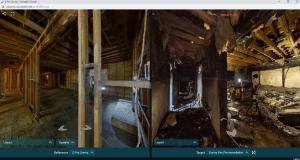 360 photo of building damage for insurance documentation