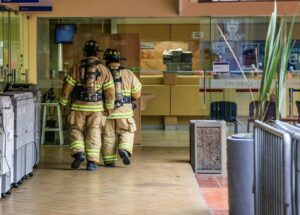First responders and firefighters entering a facility