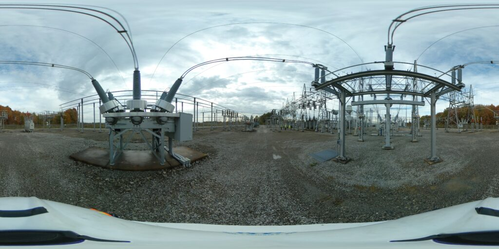360 photo showing electrical substation site for security system upgrade