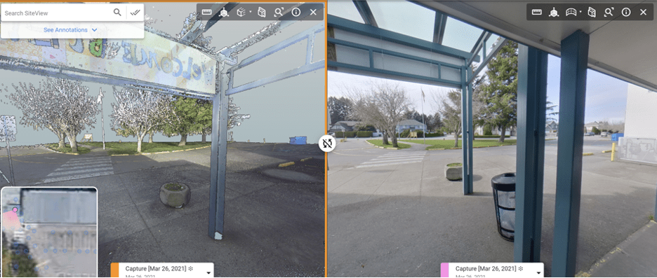 Lidar Pointcloud comparison with 360 photos in 360 photogrammetry visual asset management software