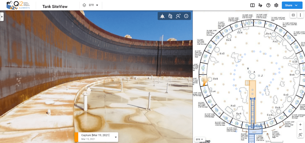 Visual Plan dual screen of petrochemical tank inspection, annotation and floor plan.