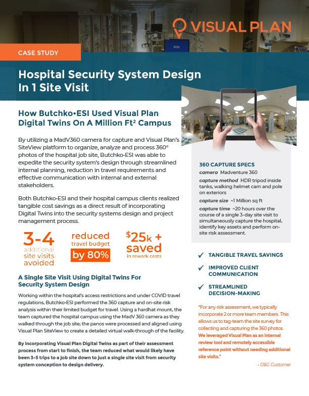 360 Photos and Virtual Walkthroughs for Security System Design in Hospitals