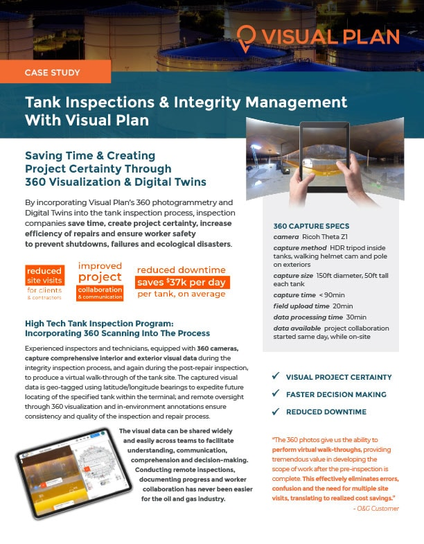 360 Photos and Digital Twins for Oil, Gas and Petrochemical Tank Inspections
