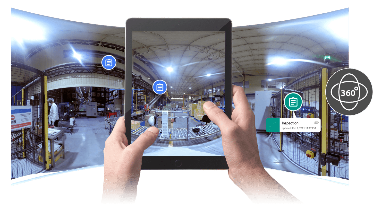 360 Photo Viewer of Manufacturing Facility on Tablet
